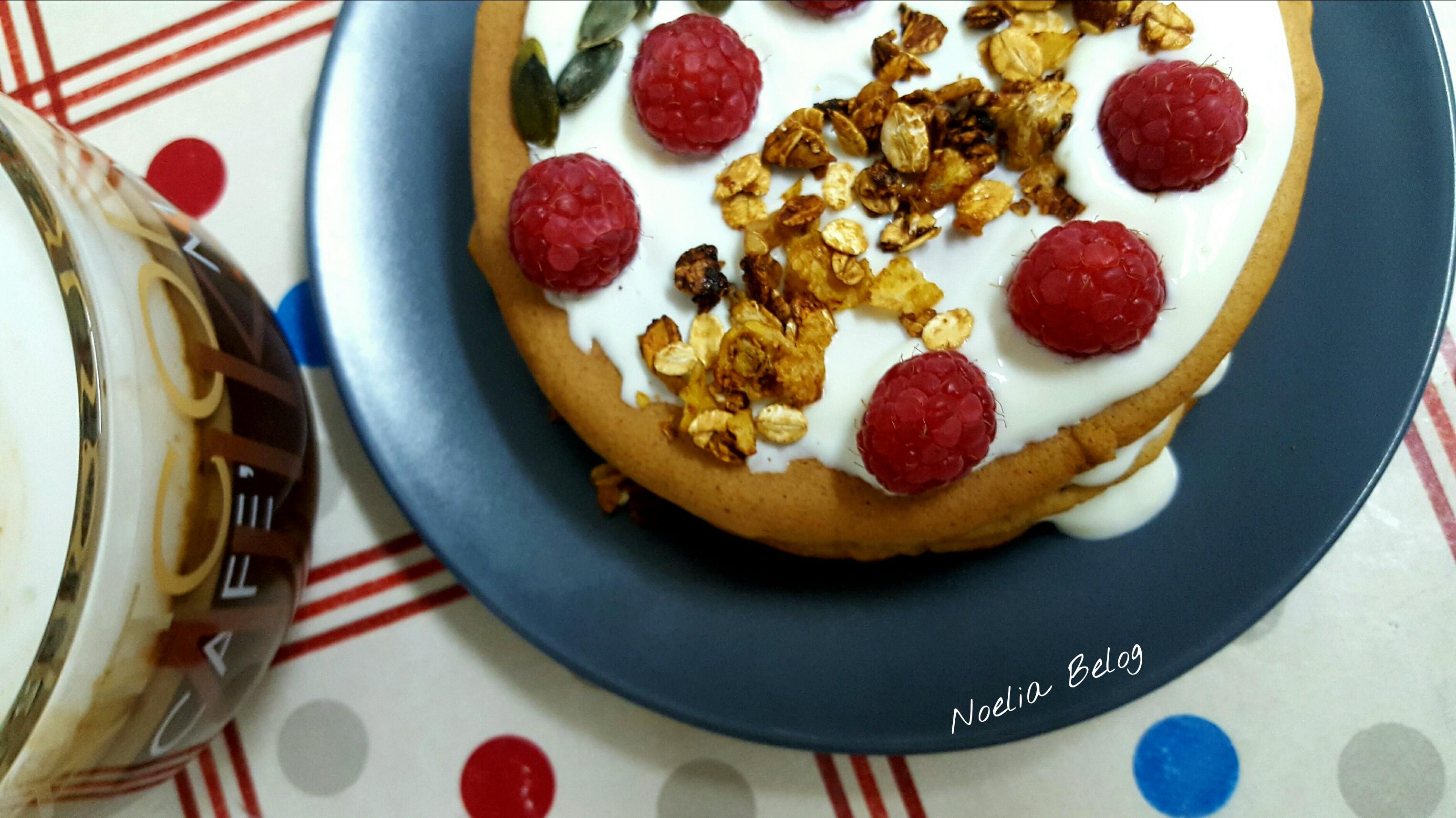 Desayuno saludable tortitas pancakes avena