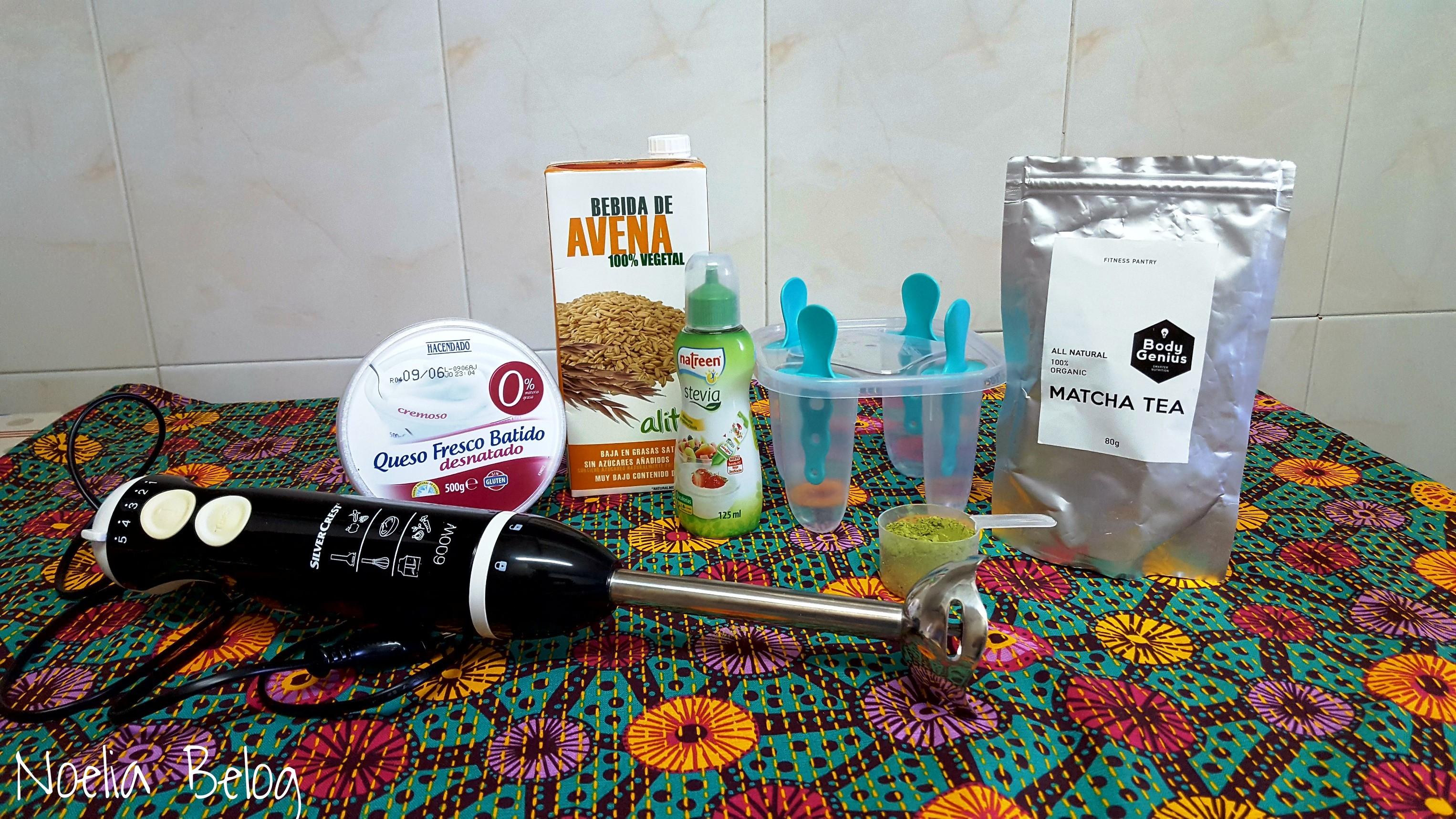 Ingredientes para helado de té matcha